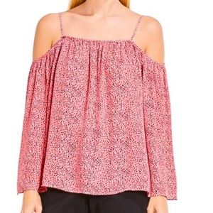 VINCE CAMUTO Pink Cold Shoulder Print top M NWT
